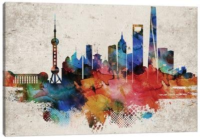 Shanghai Abstract Skyline Canvas Art Print