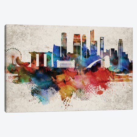 Singapore Abstract Skyline Canvas Print #WDA618} by WallDecorAddict Canvas Wall Art