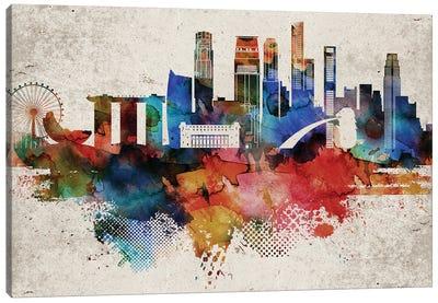 Singapore Abstract Skyline Canvas Art Print