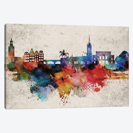 Stockholm Abstract Skyline Canvas Print #WDA619} by WallDecorAddict Canvas Wall Art
