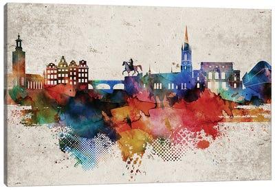 Stockholm Abstract Skyline Canvas Art Print