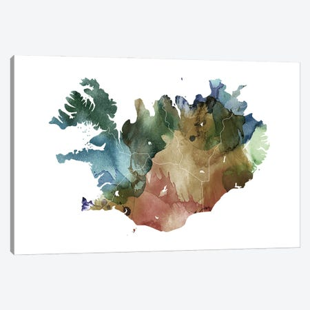 Brownish Iceland Map Canvas Print #WDA61} by WallDecorAddict Art Print