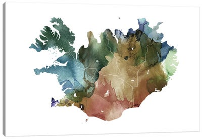 Brownish Iceland Map Canvas Art Print