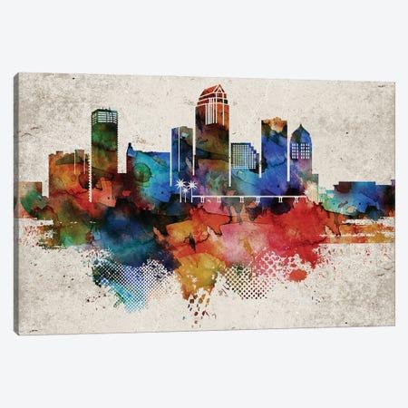 Tampa Abstract Skyline Canvas Print #WDA621} by WallDecorAddict Canvas Art Print
