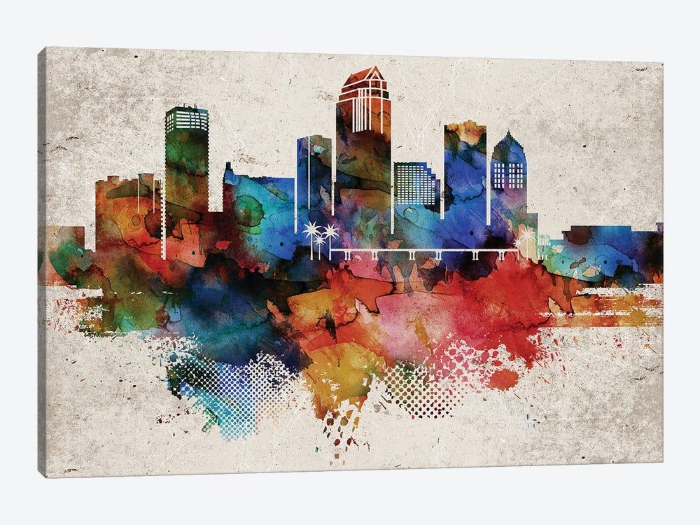 Tampa Abstract Skyline by WallDecorAddict 1-piece Canvas Art