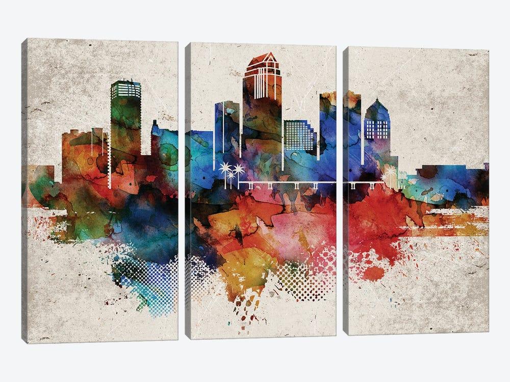 Tampa Abstract Skyline by WallDecorAddict 3-piece Canvas Artwork