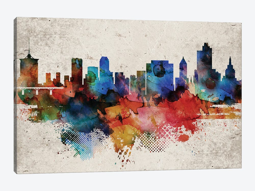 Tulsa Abstract Skyline by WallDecorAddict 1-piece Canvas Artwork