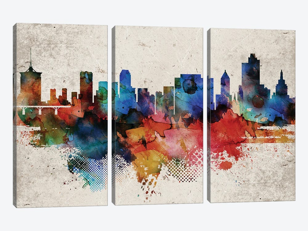 Tulsa Abstract Skyline by WallDecorAddict 3-piece Canvas Artwork