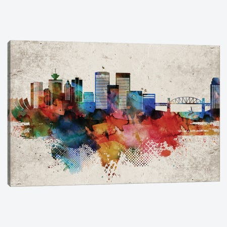 Vancouver Abstract Skyline Canvas Print #WDA624} by WallDecorAddict Canvas Art