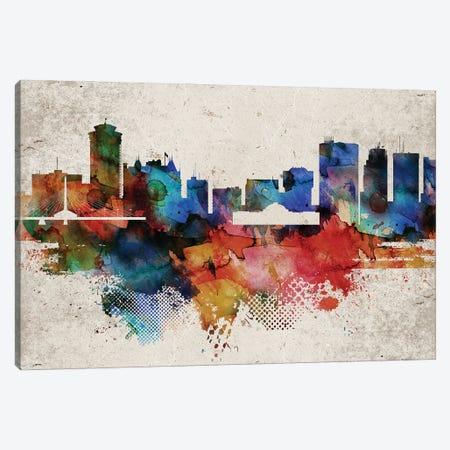 Winnipeg Abstract Skyline Canvas Print #WDA629} by WallDecorAddict Canvas Art Print