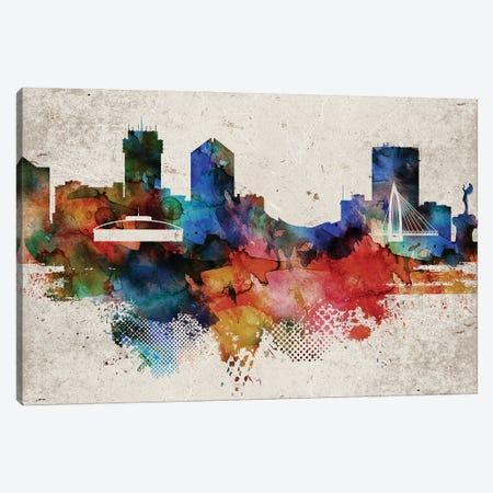 Wichita Abstract Skyline Canvas Print #WDA630} by WallDecorAddict Canvas Artwork