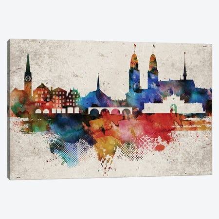Zurich Abstract Skyline Canvas Print #WDA631} by WallDecorAddict Canvas Wall Art