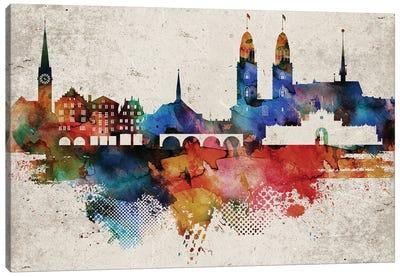 Zurich Abstract Skyline Canvas Art Print