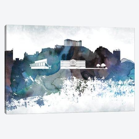 Athens Bluish Skylines Canvas Print #WDA635} by WallDecorAddict Canvas Art Print