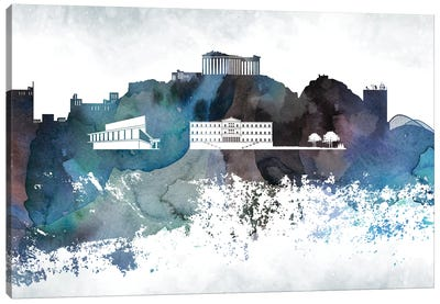 Athens Bluish Skylines Canvas Art Print