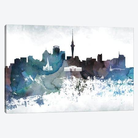 Auckland Bluish Skyline Canvas Print #WDA637} by WallDecorAddict Canvas Print