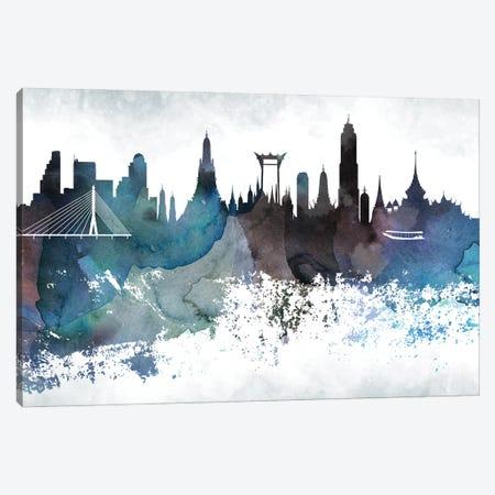 Bangkok Bluish Skyline Canvas Print #WDA638} by WallDecorAddict Canvas Wall Art