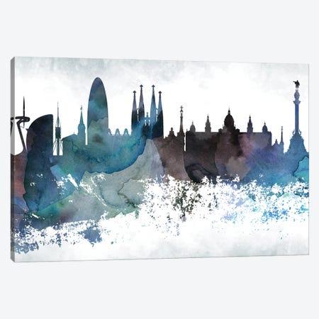 Barcelona Bluish Skyline Canvas Print #WDA639} by WallDecorAddict Canvas Artwork