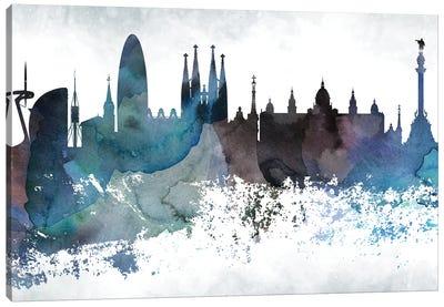 Barcelona Bluish Skyline Canvas Art Print