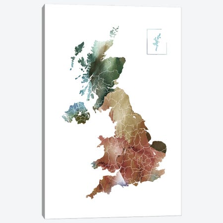 Brownish UK Map Canvas Print #WDA63} by WallDecorAddict Canvas Print
