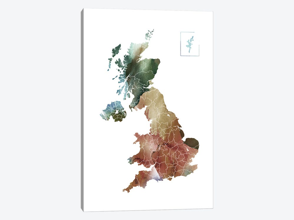 Brownish UK Map by WallDecorAddict 1-piece Canvas Wall Art