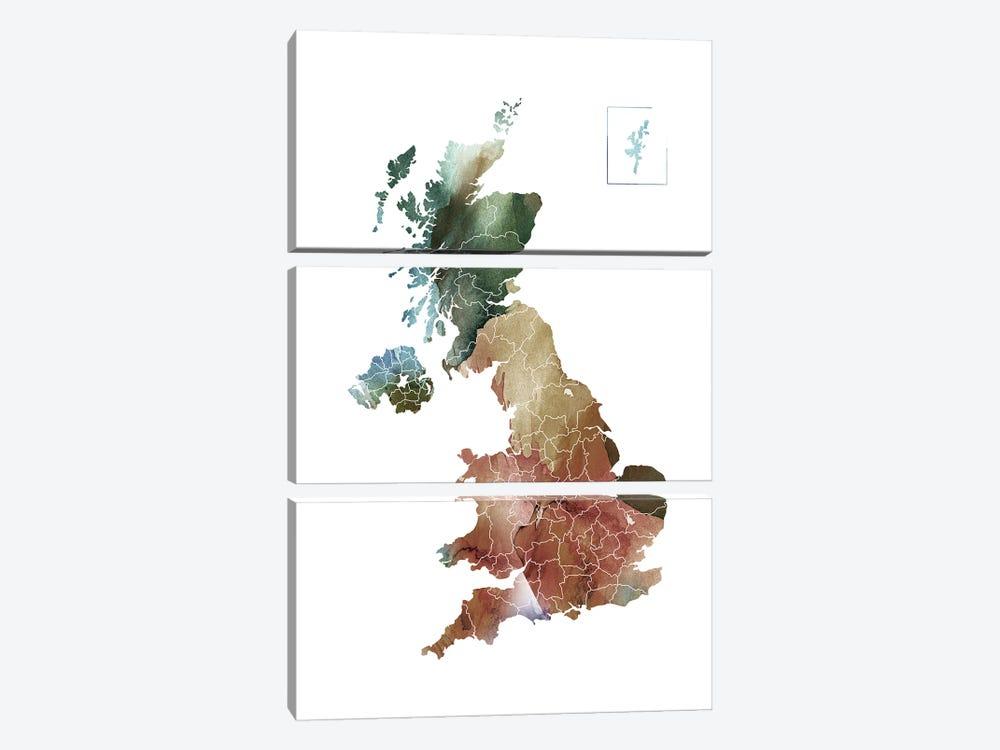 Brownish UK Map by WallDecorAddict 3-piece Canvas Art