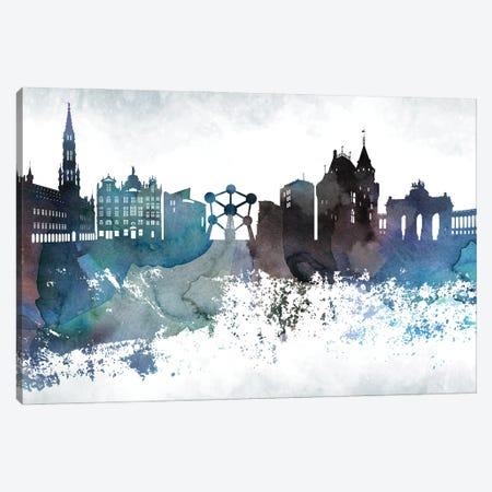 Brussels Bluish Skyline Canvas Print #WDA644} by WallDecorAddict Canvas Artwork