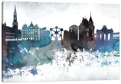 Brussels Bluish Skyline Canvas Art Print
