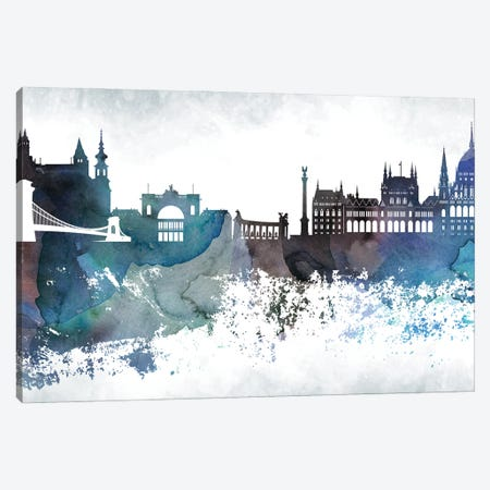 Budapest Bluish Skyline Canvas Print #WDA645} by WallDecorAddict Canvas Artwork