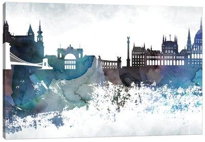 Budapest Bluish Skyline Canvas Art Print