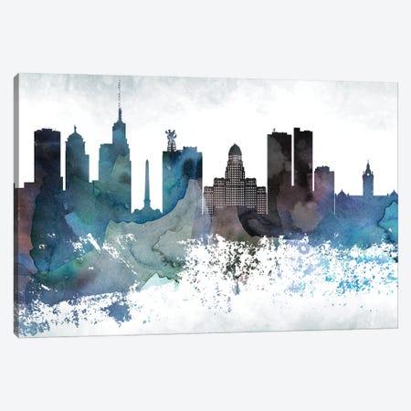 Buffalo Bluish Skyline Canvas Print #WDA647} by WallDecorAddict Canvas Artwork