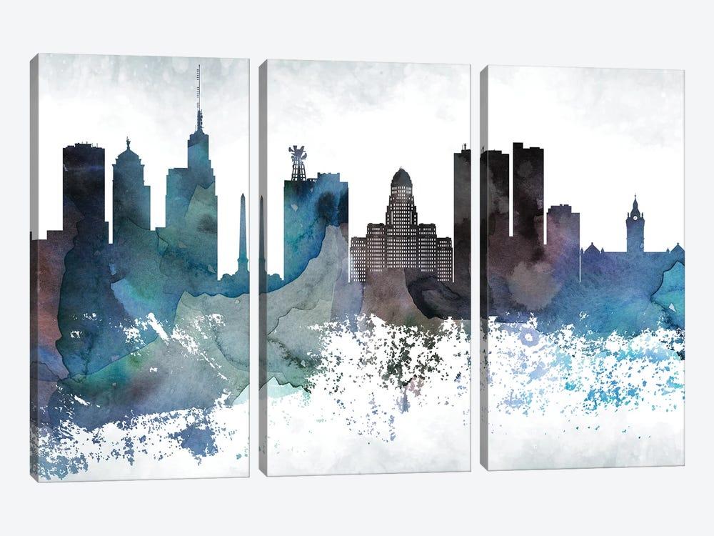 Buffalo Bluish Skyline by WallDecorAddict 3-piece Canvas Wall Art