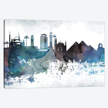 Cairo Bluish Skyline Canvas Print #WDA648} by WallDecorAddict Art Print