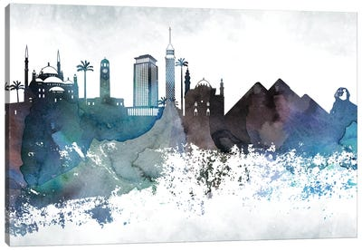 Cairo Bluish Skyline Canvas Art Print