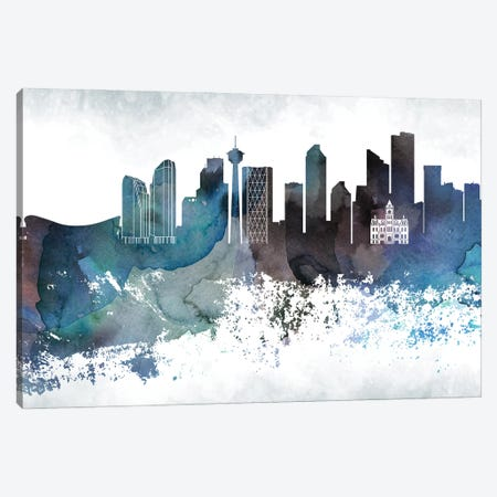 Calgary Bluish Skyline Canvas Print #WDA649} by WallDecorAddict Canvas Print