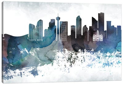 Calgary Bluish Skyline Canvas Art Print