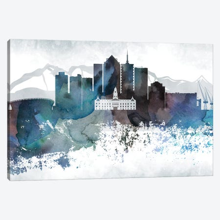 Cape Town Bluish Skyline Canvas Print #WDA650} by WallDecorAddict Canvas Art