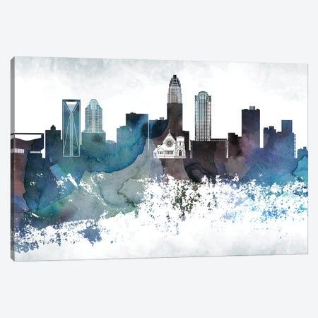 Charlotte Bluish Skyline Canvas Print #WDA652} by WallDecorAddict Canvas Wall Art