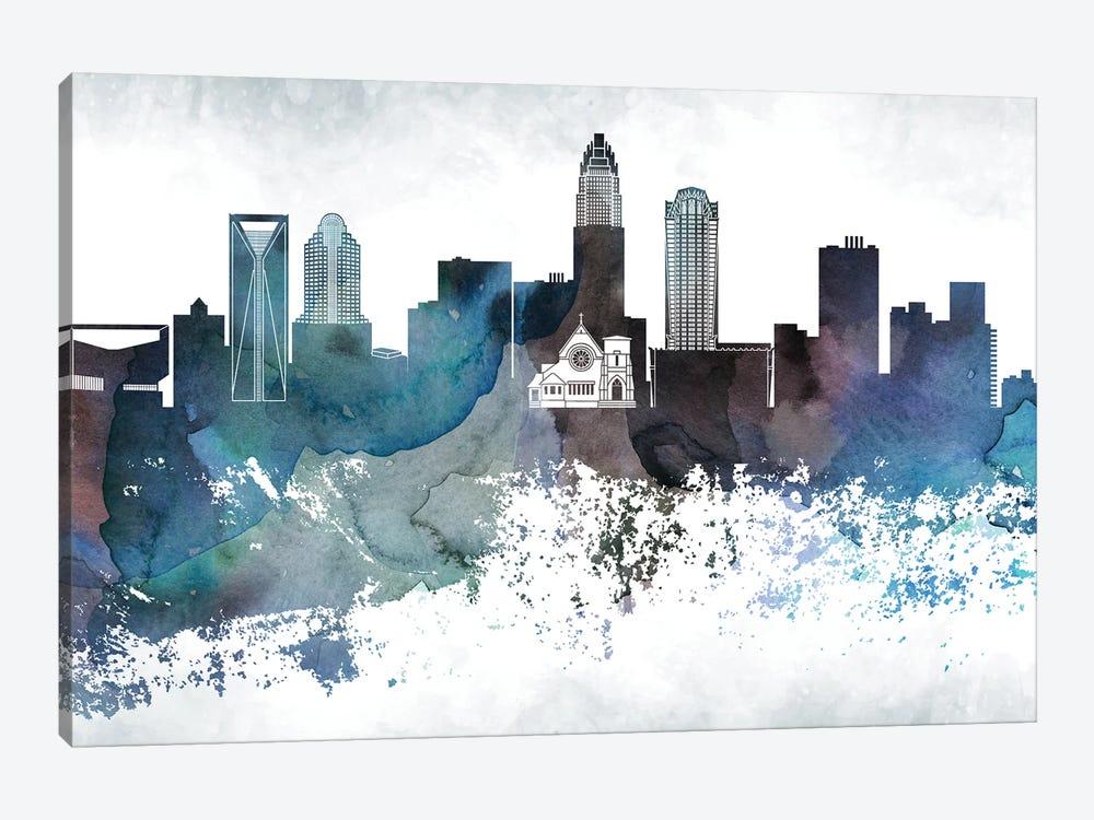 Charlotte Bluish Skyline by WallDecorAddict 1-piece Canvas Art