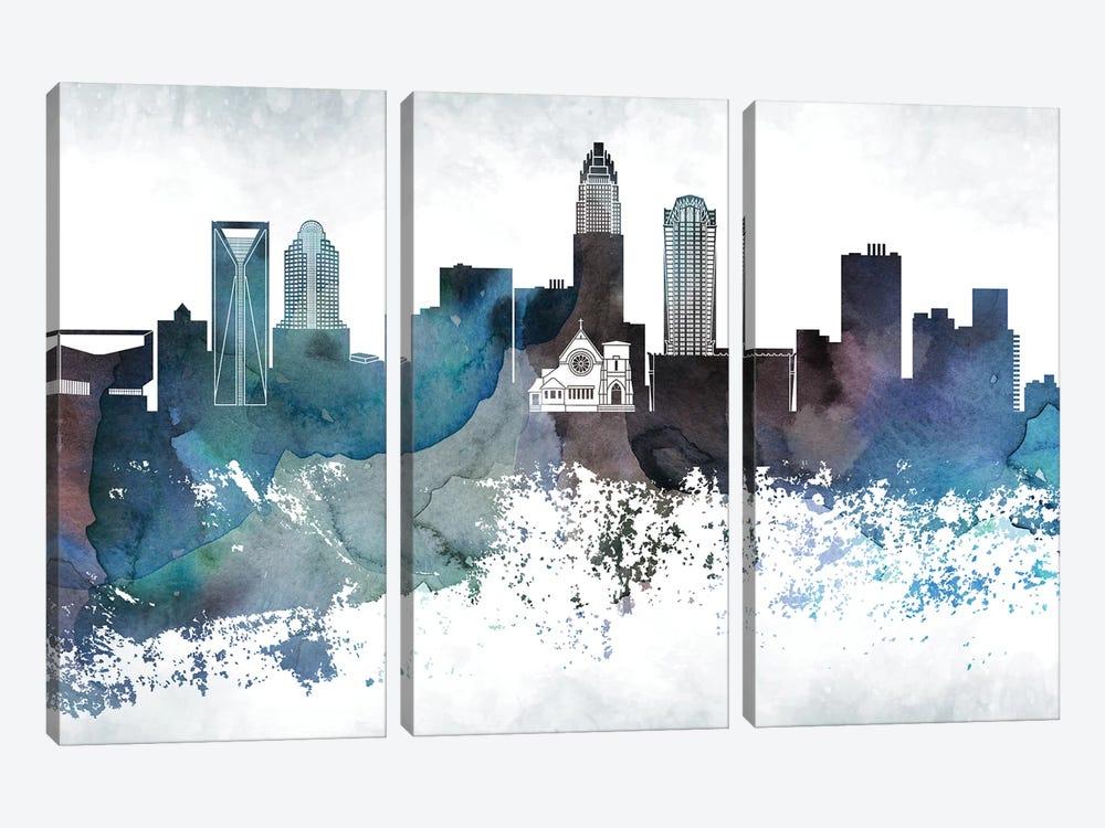 Charlotte Bluish Skyline by WallDecorAddict 3-piece Canvas Wall Art