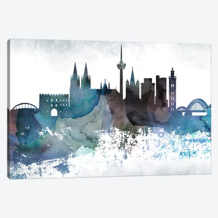 Cologne Bluish Skyline Canvas Print #WDA655} by WallDecorAddict Canvas Art Print