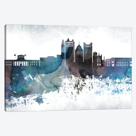 Columbus Bluish Skyline Canvas Print #WDA656} by WallDecorAddict Canvas Print