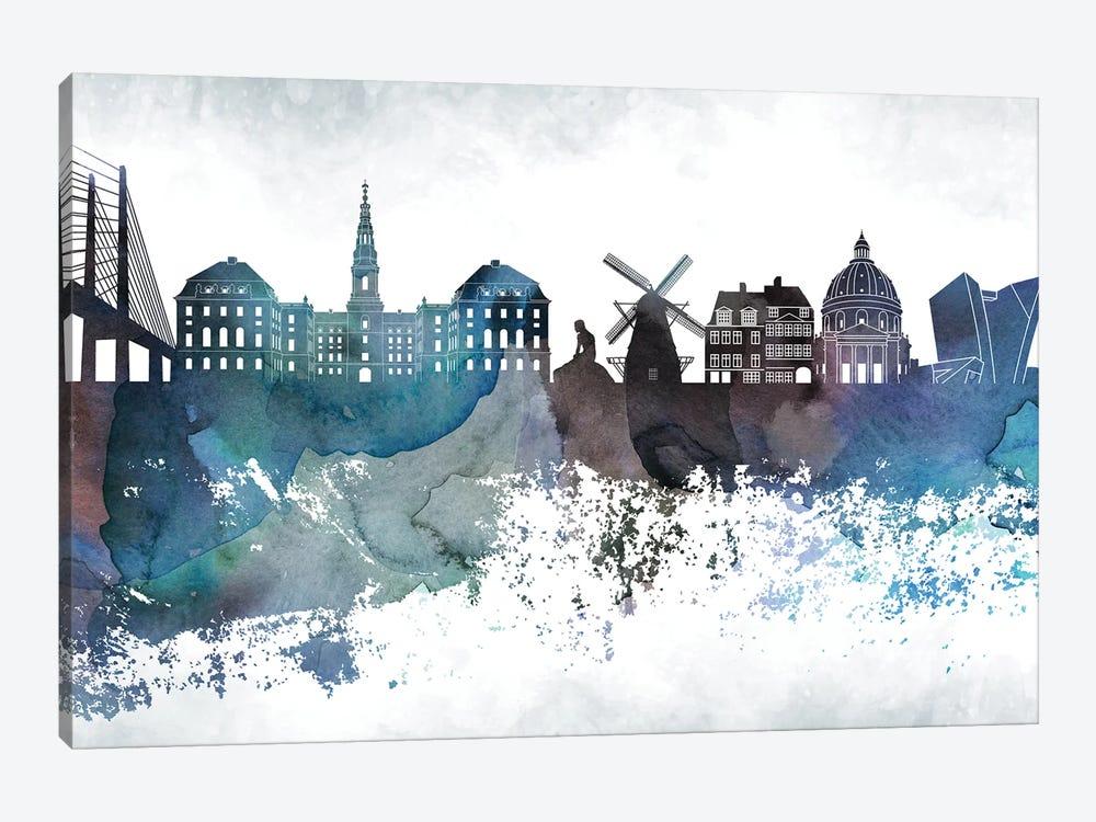 Copenhagen Bluish Skyline by WallDecorAddict 1-piece Canvas Print