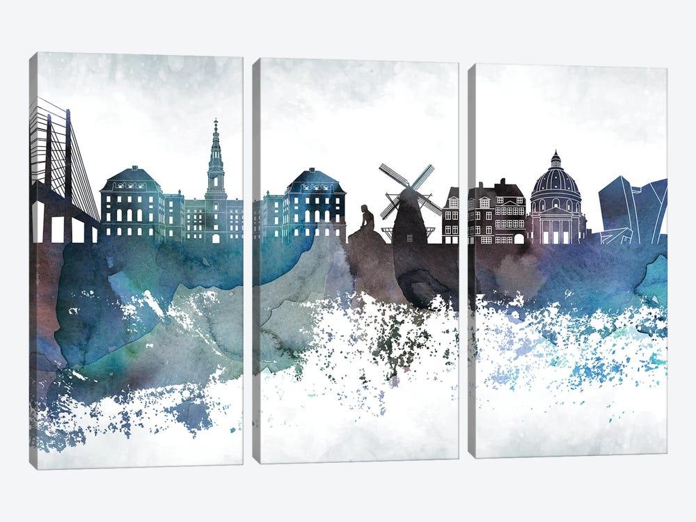 Copenhagen Bluish Skyline by WallDecorAddict 3-piece Canvas Art Print