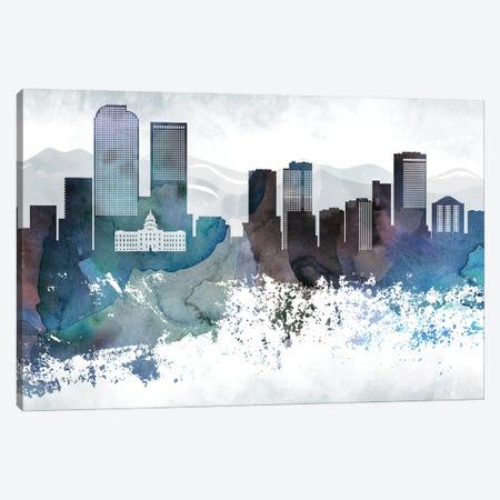 Denver Bluish Skyline Canvas Print #WDA659} by WallDecorAddict Canvas Artwork