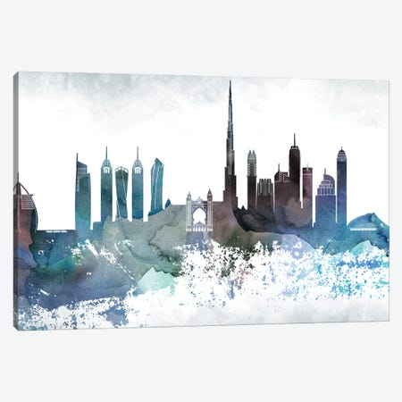 Dubai Bluish Skyline Canvas Print #WDA660} by WallDecorAddict Canvas Art Print