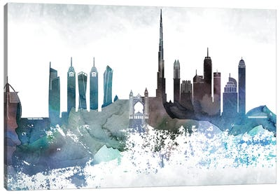 Dubai Bluish Skyline Canvas Art Print