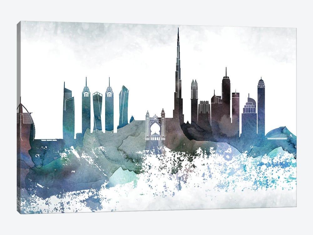 Dubai Bluish Skyline by WallDecorAddict 1-piece Art Print