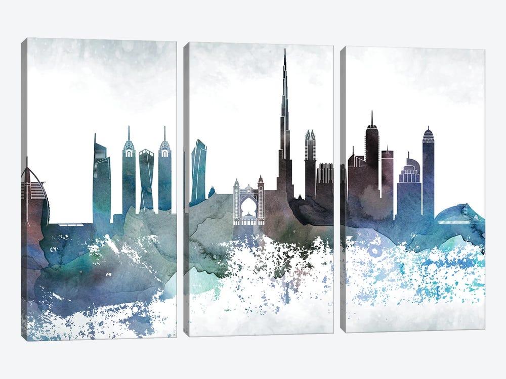 Dubai Bluish Skyline by WallDecorAddict 3-piece Art Print