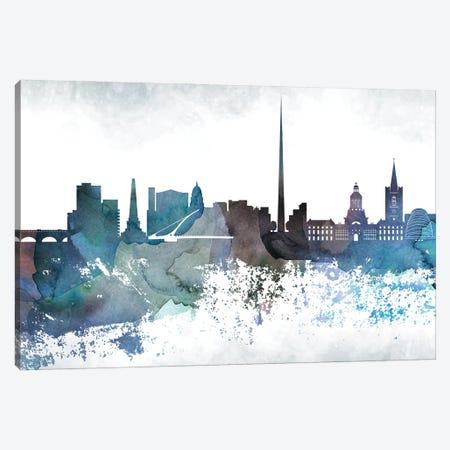 Dublin Bluish Skyline Canvas Print #WDA661} by WallDecorAddict Art Print